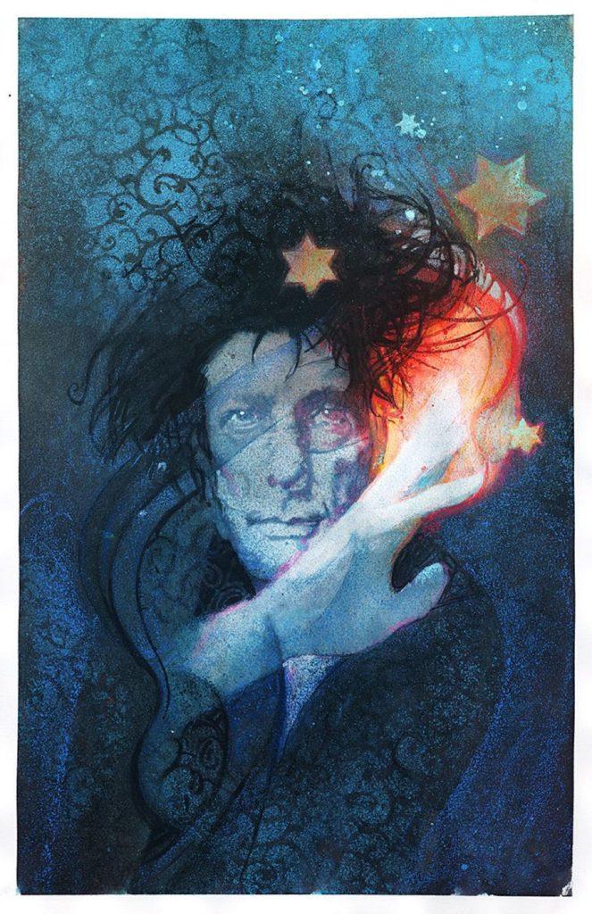 Retrato de Neil Gaiman po Bill Sienkiewicz